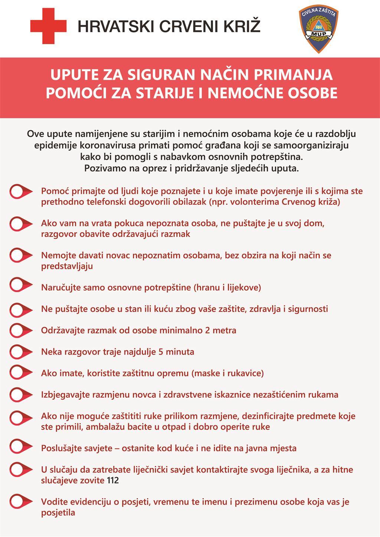 Upute za siguran način pružanja i primanja pomoći tijekom epidemije koronavirusa